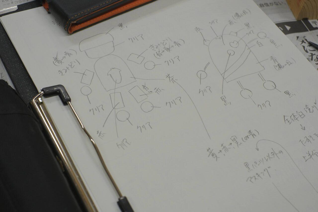 塗装の設計図を作る学生も