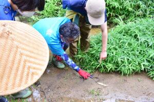 足跡を発見した学生たち